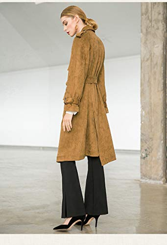 Coat Scamosciata In Con Khaki Uebzsoonfwoe Camoscio Pelle Trench Cinturino Pwvznqx4f