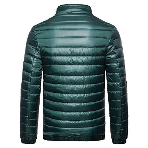 Down Stand Outwear Green Zip Blackish Full Winter Parka Standard Collar Cardi fit MogogoMen tSqxTz1wn