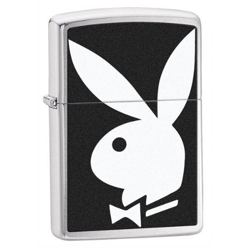 (Zippo Lighters - Brushed Chrome, Black & White Playboy Bunny)