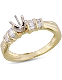 Womens Channel Diamond Engagement Ring Semi Mount 14k Yellow Gold .29 cttw