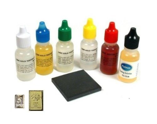 - Gold Testing Solutions Kit 10k 14k 18k 22k Silver Platinum Scratch Stone