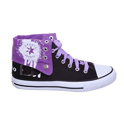 NEW STYLE!! High Top Fold Down Canvas Women Sneakers Best Seller (9, black/purpleTMP) [Apparel] - New Styles Shoes