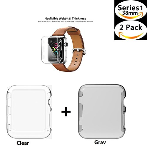 Apple Watch 1 Case , Sfmn 2- Pack iwatch 1 38mm Case Ultra-Slim Cystal Clear Full Coverage All-around PC Hard Cover Case for Apple Watch Series 1 38MM (Clear+Gray)( 2Pack-38MM) (Protector Hard)