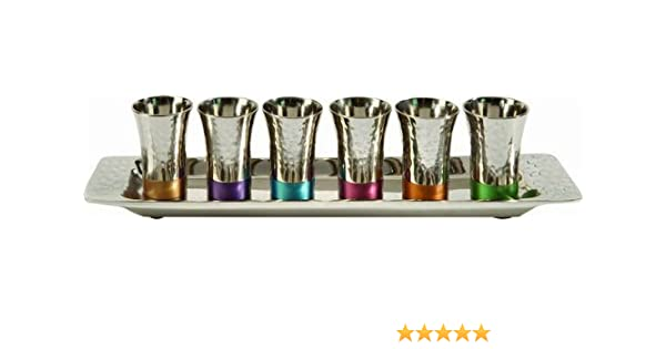b8c6094770e Amazon.com: Yair Emanuel - Kiddush Cup Goblet Set of 6 Small Kiddush Cups  and Tray Nickel Hammerwork Multicolor (GA-2): Kitchen & Dining