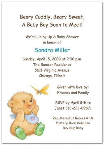 Oh My! with Green Booties Baby Shower Invitations - Set of 20