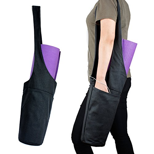 Yoga Mat Bag by ASKITO | Yoga Mat Tote Sling Carrier w/ Large Side Pocket & Zipper Pocket | Fits Most Size Mats