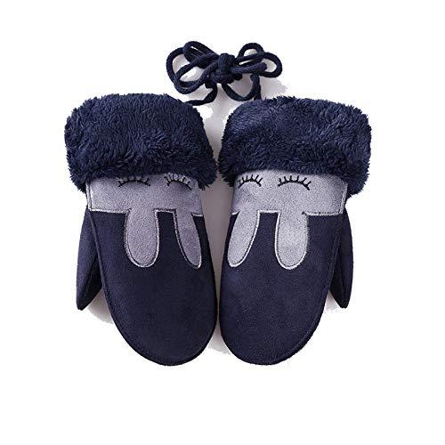 Epinki Children Gloves for Plus Cotton Warm Gloves Cute Princess Rabbit Ears Dark Blue Gloves Dark Blue