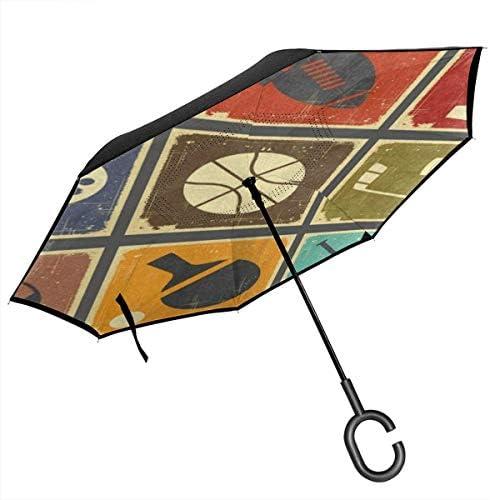 野球、バスケットボール ユニセックス二重層防水ストレート傘車逆折りたたみ傘C形ハンドル付き