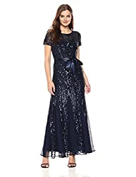 Short Sleeve Embelished Sequins Gown