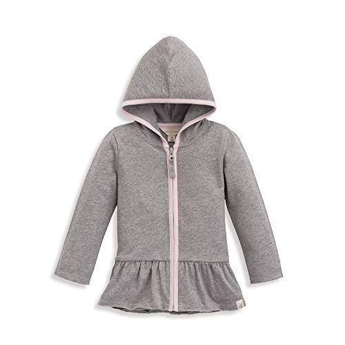 Burt's Bees Baby Baby Girl's French Terry Gathered Zip Hoodie Outerwear, Heather Grey, 6 Years
