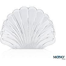 """MONOINSIDE Decorative Napkin Holder for Tables, 5.75"""" Inches Wide, Plastic, Shell Shaped, Clear - Great Gift For Special Occasions Like Christmas, Valentine and Weddings"""