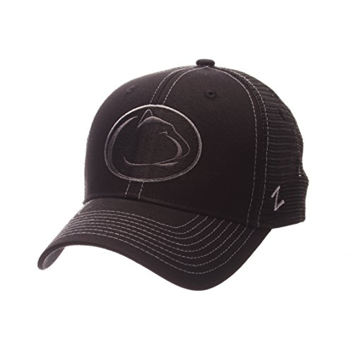 Ncaa Black Cap (NCAA Penn State Nittany Lions Adult Men's Staple Trucker Blackout Cap, Adjustable Size, Black)