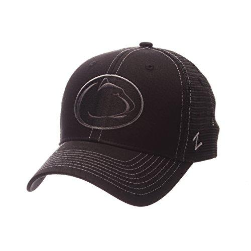 Cap Black Ncaa (NCAA Penn State Nittany Lions Adult Men's Staple Trucker Blackout Cap, Adjustable Size, Black)