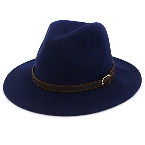 Navy Blue Felt Hat - Lisianthus Women's 100% Wool Fedora Panama Hat Wide Brim with Belt Navy Blue