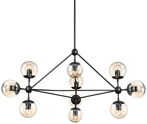 Possini Euro Gable 40″ Wide 10-Light Black Chandelier For Sale