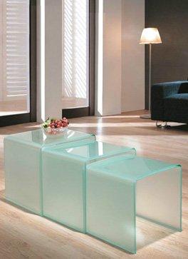 Design Beistelltisch 3er Set Aus Glas Sandgestrahlt 3