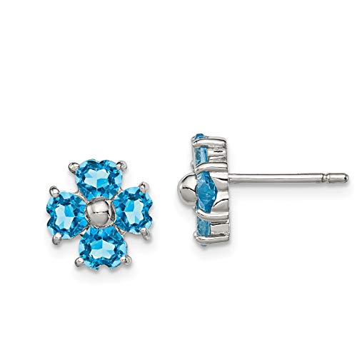 Perfect Jewelry Gift Sterling Silver Rhodium Swiss Blue Topaz Flower Post Earrings