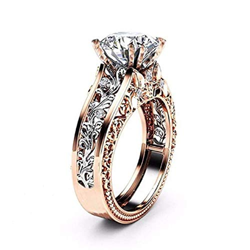 TOPOB Women's Rings, Rose Gold Hollow Carving Floral Gemstones Birthstone Engagement Ring Jewelry Gift (Silver, 10) ()