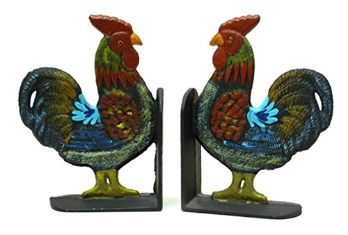 IWGAC 0170S-04408 Cast Iron Rooster Bookends Set by IWGAC from IWGAC