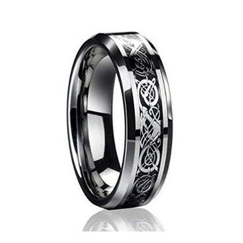 6MM Dragon Design Tungsten Carbide Wedding and engagement Bridal Band Ring Sets by tungsten jeweler