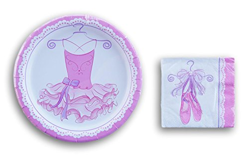 Shoes Beverage Napkin - Girls Ballet Dance Party Supplies -(8) Dinner Plates and (16) Beverage Napkins (Pink and White)