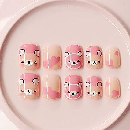 yunail 24pcs Rosa Oso Caja Corto Falso uñas para niñas y pequeñas mano adultos