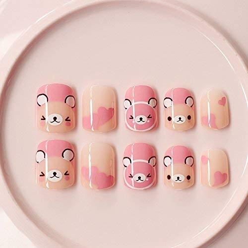 24Pcs Pink Bear Carton Short False nails for Little Girls and Small Hand Adults