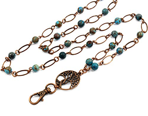 Brenda Elaine Jewelry | Women's Fashion Lanyard Necklace for ID Badge Holders | No Tarnish | Oval and Blue Sky Jasper Pearl Chain with Antique Copper Tree of Life Pendant & Magnetic Break Away Clasp ()