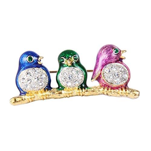 Enamel Bird Pin (EVER FAITH® Gold-Tone Austrian Crystal Colourful Enamel Three Lovely Pulli Bird Brooch Pin Clear )