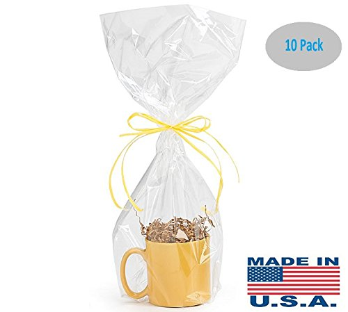 A1BS Clear Cello Cellophane Bags Gift Basket Package Flat Gift Bags (9 in X 20 in)