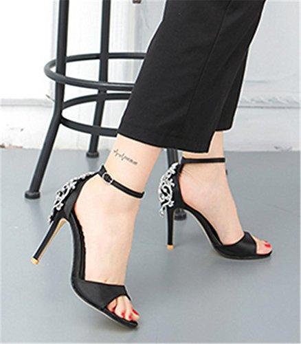 HETAO Persönlichkeit Frauen Sandalen Rhinestones Hochzeit Braut Abend Partei Kristall Glitzer herrlichen High Heels Schuhe Geschenk Des Mädchens Black