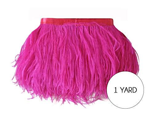 Moonlight Feather | 1 Yard - Hot Pink Ostrich Fringe Trim Wholesale Feather (Bulk) 2 Ply Wedding Halloween Prom Dress Craft -