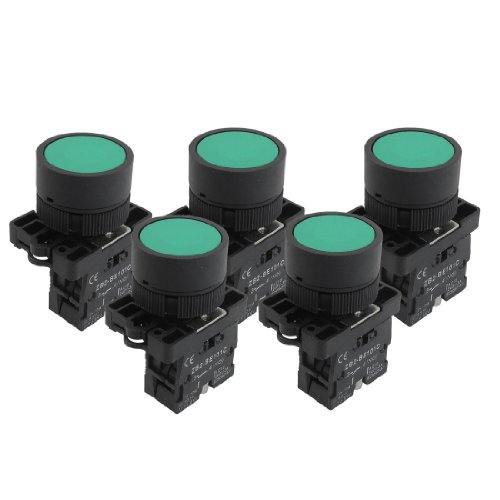 - Uxcell a12082000ux0366 1 NO N/O Green Sign Momentary Push Button Switch, 600V, 10 Amp, ZB2-EA31, 5 x 22 mm