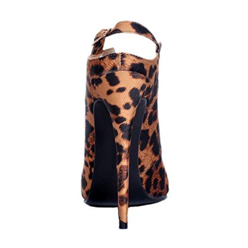 Leopard Prom Party Slingback Damen Schuhe High Heel Sexy Schnalle Kolnoo Patent Court 8nTPTU