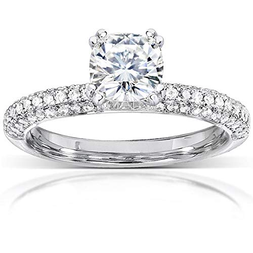 Cushion-cut Moissanite Micro-Pave Engagement Ring 1 1/3 CTW 14k White Gold, Size 11