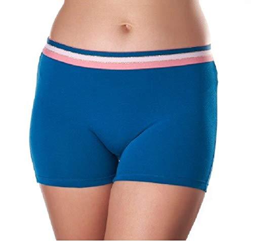 Women's 3 Pack Comfortable Cotton Bike Yoga Boxer Brief Boyshort (Small, Sky Blue)