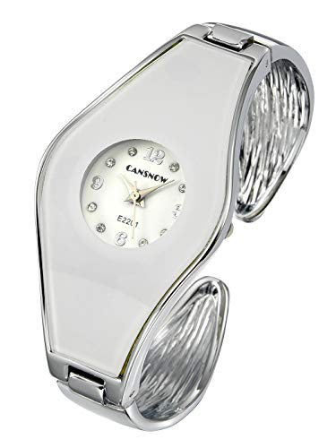 Top Plaza Womens Fashion Silver Tone Analog Quartz Bangle Cuff Bracelet Wrist Watch White Face Arabic Numerals Elegant Dress Jewelry Watches 6 Inches from Top Plaza