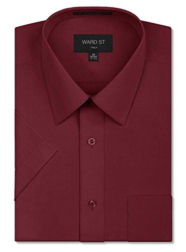 Big And Tall Formal Wear (Ward St Men's Regular Fit Short Sleeve Dress Shirts, 5XL, 21-21.5N, Burgundy)