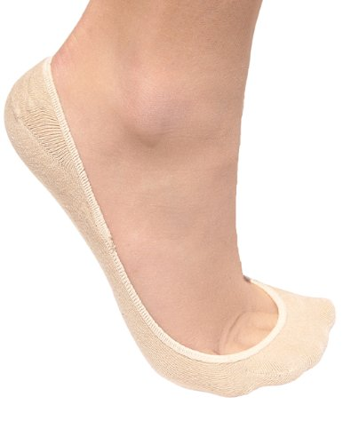 No Show Socks for Women by Jays, Extra Large Silicon Grip, 4 for the Price of 3 - Beige, Size M