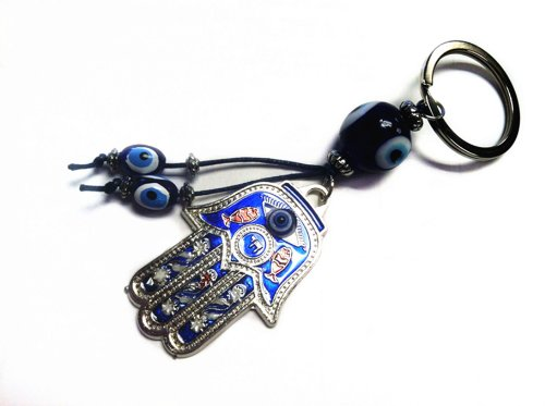 Key Hamsa - Blue Evil Eye on a Hamsa Key Ring and a Betterdecor Pounch
