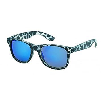 Sonnenbrille verspiegelt 400 UV Nerd Wayfarer Stil Tiger Print braun bunt