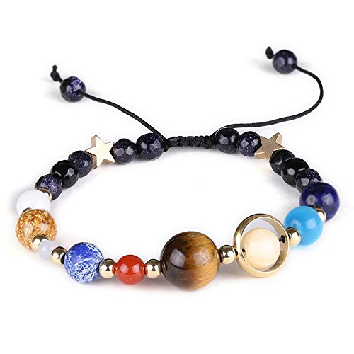 Auspicious Cloud Natural Stone Beads Bracelet Bangle Solar System Bracelet Universe Galaxy The Eight Planets Guardian Star Yoga Bracelets for Womens Mens (Blue Sandstone(Adjustable)) ()