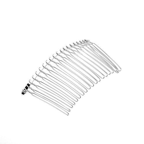 Tinksky 78cm 20 Teeth Fancy DIY Metal Wire Hair Clip Comb Bridal Wedding Veil Comb Silver