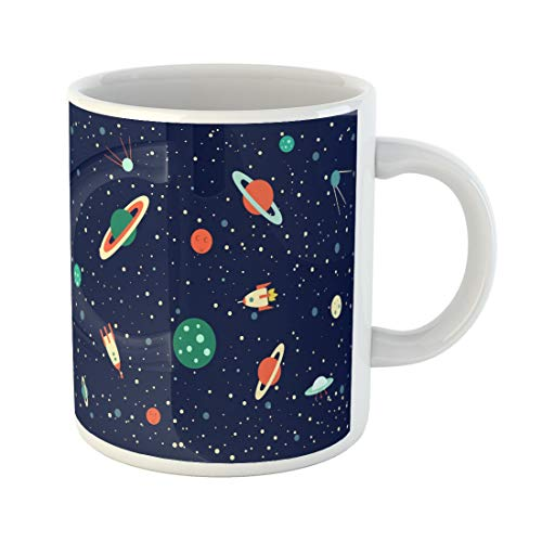 (Tarolo 11 Oz Mug Coffee Mug Ceramic Tea Cup Colorful Flat Space of Planets Orbits Rockets Satellite Flying Saucer Stars Cosmos Cartoon Cute Large C-handle Family and Office Gift)