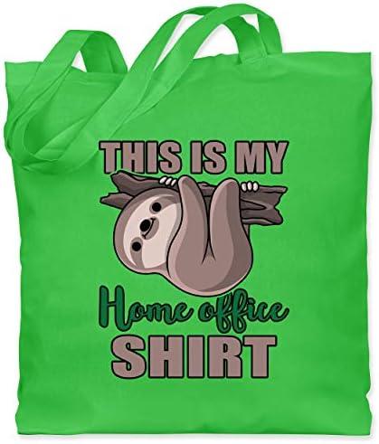 Shirtracer - Sonstige Berufe - This is my home office shirt mit Faultier - Stoffbeutel aus Baumwolle Jutebeutel lange Henkel