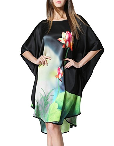 SexyTown Women's 100% Pure Silk Nightgown Hand Painted Batwing Sleeve Sleepwear Dress Plus Size Lotus Black One (Kimono Lubricant)