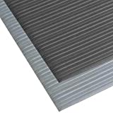 NoTrax T42 Standard PVC Safety/Anti-Fatigue Comfort Rest Ribbed Foam, For Dry Areas, 3' Width x 60' Length x 3/8'' Thickness, Silver