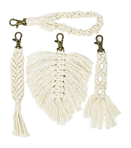 Macrame Keychains for Women - Set of 4 Trendy Boho Styles - Braided, Tassel, Wristlet Strap and Feather - Car Key or Purse Accessory, and Backpack Decor from Blissfully Essential