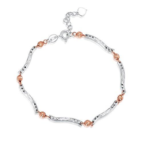 14ct 585Blanc Or rose diamant Perles et ondulée Barre Segment Bracelet (17.5cm) Femme Bijoux Cadeau Saint Valentin