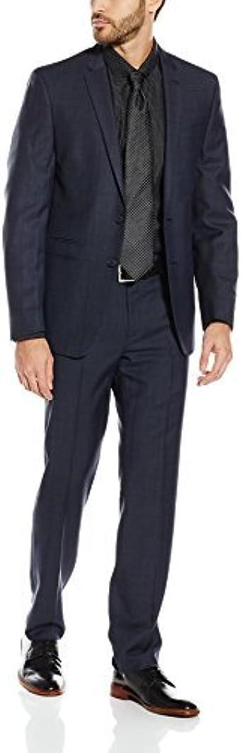 Andrew fezza Hombre Fresno Notch en una de pantalones y de solapa azul marino traje de cuadros, color negro